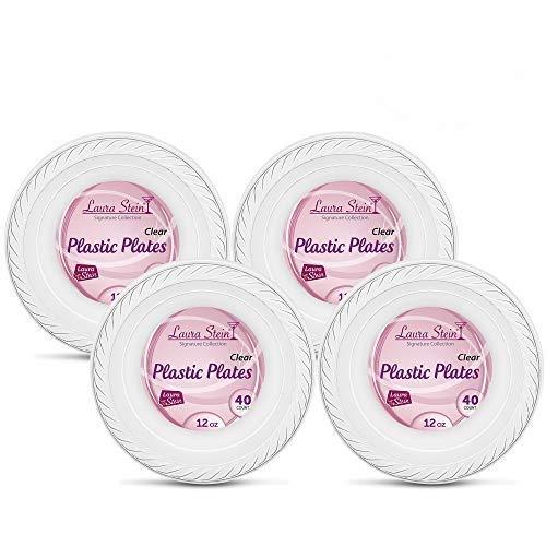 (Laura Stein Elegant 12 oz Disposable Clear Soup Size Plastic Bowls 4 Packs (160)
