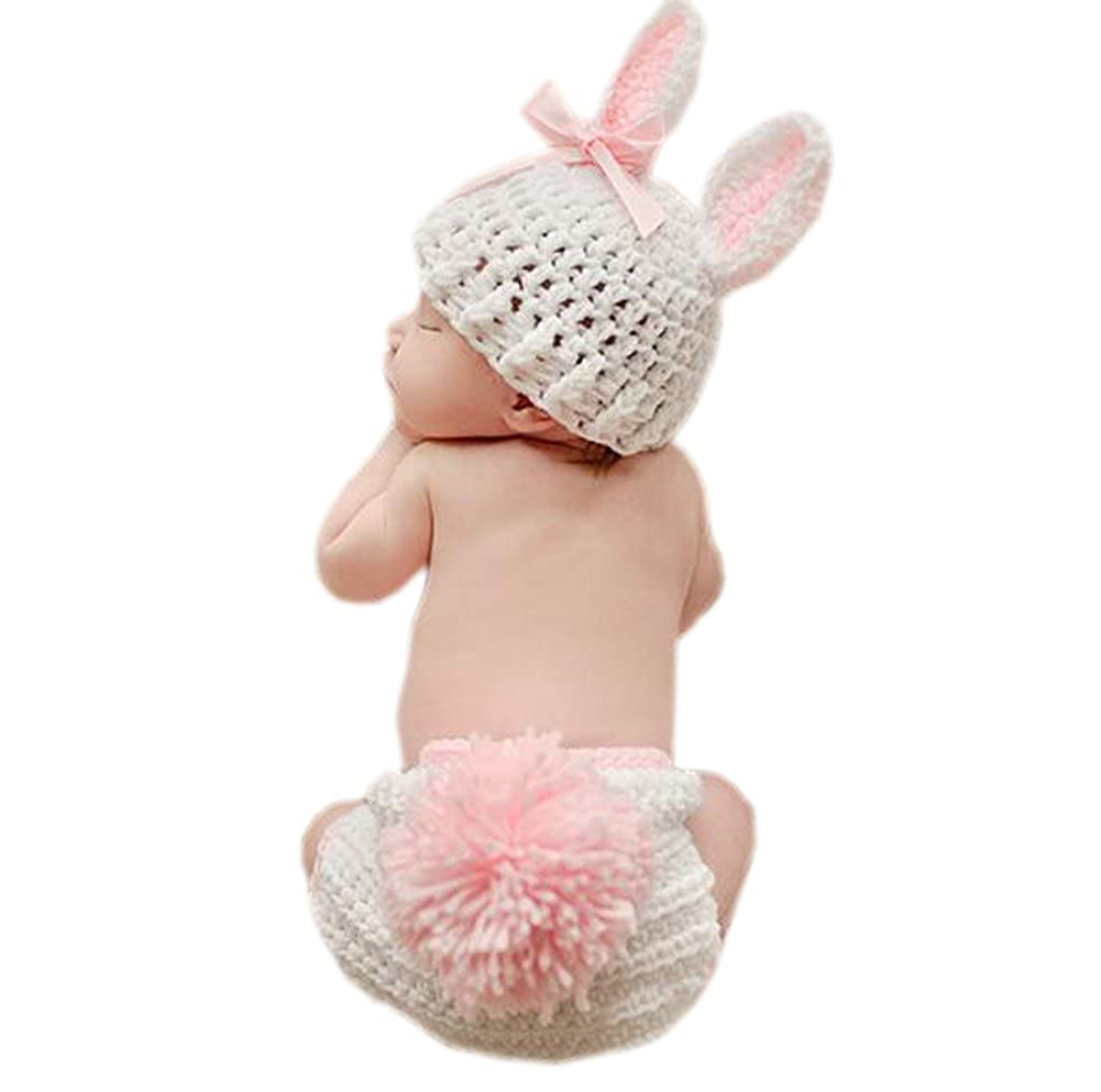 DELEY Newborn Baby Crochet Knit Cartoon Bunny Rabbit Infant Photography Props Costume Outfits 0-6 Months FS0228