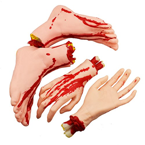 XONOR Halloween Severed Hands Feet Set Scary Bloody Broken Body Parts Halloween Props Decorations, 4 Pieces(Feet & Hands) (Skin Color) -