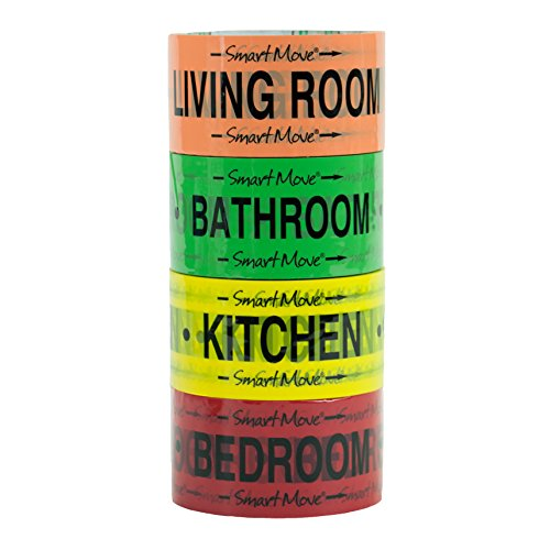 1 Bedroom Labeling Tape, Living Room, Bedroom, Bathroom and Kitchen Color Coded for Easy Organization! 4 Rolls of Tape, each roll 2