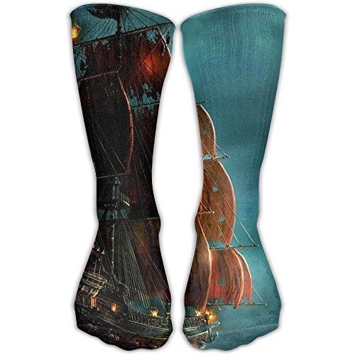 (YUANSHAN Pirate Ship Women & Men Socks Soccer Sport Tube Stockings Length 30cm)