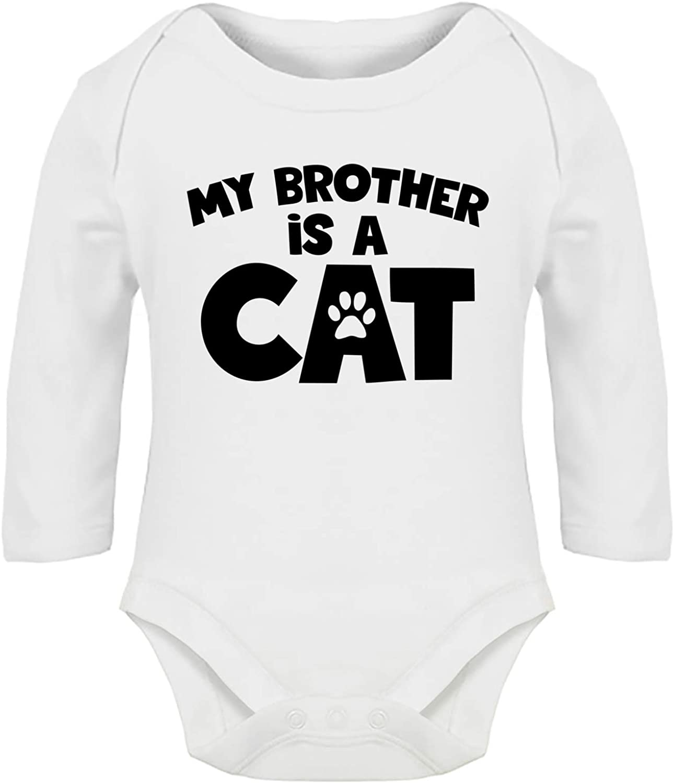 Long Sleeve Hippowarehouse My Brother is a cat Baby Vest Bodysuit Boys Girls