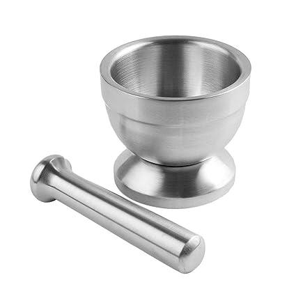 Hemore de mortero de Acero Inoxidable y Kit Maja Molinillo de usos múltiples para Molcajete Chipping Molienda Almacenaje y organización de cocinas.