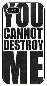 iPhone 4 / 4s You cannot destroy men, vintage, black plastic case / Inspirational and motivational life quotes / SURELOCK AUTHENTIC