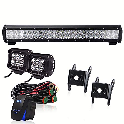 TURBOSII DOT Approved 20Inch LED Light Bar Rocker Switch Wiring Harness 2pcs 18W Pods Cube Fog Light For Golf Cart Truck ATV Tractor Dodge Ram Ford Boat Chevy Jeep Polaris (Off Road Dodge Trucks)