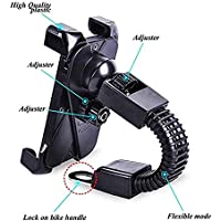 SYSTEM BREAKER™ 111 360 Degree Rotation Motorbike Activa Mobile Holder Rearview Mirror Mount Stand for All Mobiles(XL Size - Fits Till 7-inches Screen Mobile) (Color May Vary)