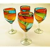 Wine Glasses, Hand Blown, Rainbow colors 15 Oz (Set of 4)