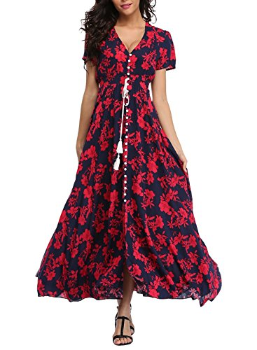 VintageClothing Women's Floral Print Maxi Dresses Boho Button Up Split Beach Party Dress,Deep Blue&red Flower,X-Large