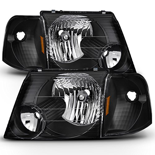 For Black Bezel 02-05 Ford Explorer Headlights Replacement + Corner Bumper Signal Lamps 6pcs Set
