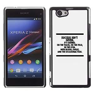 TECHCASE**Cubierta de la caja de protección la piel dura para el ** Sony Xperia Z1 Compact D5503 ** Success Inspiring Message Text Minimalist