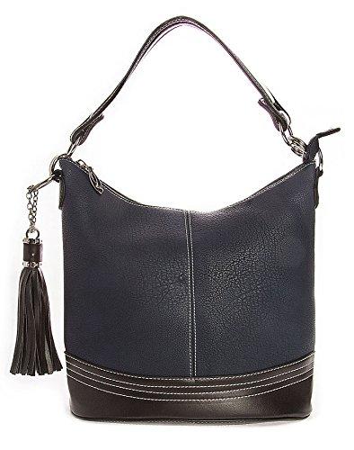 Trim Medium Bucket Medium Navy Blue Handle Big Designer Handbag Size Bag Contrast Womens Satchel Shop Size Shoulder Top Shape w11qzB4pOx