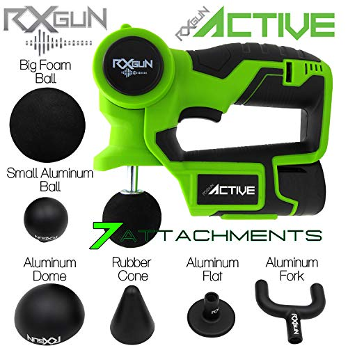 - RxGun ACTIVE Percussion Professional Massager 7 Attachment Cordless Rechargeable Handheld Percussive Deep Tissue Body Neuromuscular Muscle Pounding Vibration Therapy Massage Gun Tool