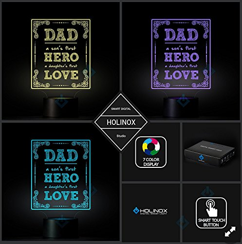 Dad A Son's First Hero, Dad lamp, Father's day gift idea, Decoration lamp, 7 Color Mode, Awesome gifts (MT217) by Holinox (Image #2)