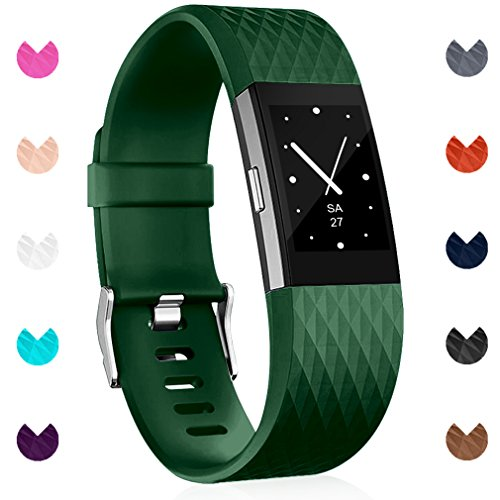 Maledan Replacement Bands Compatible with Fitbit Charge 2 for Women Men, Green, Large
