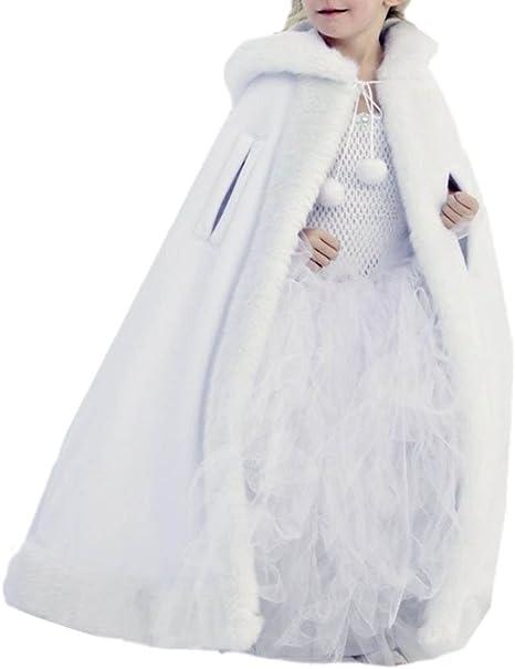 Winter Long Faux Fur Trim Wedding Cloaks Bridal Kids Flower Girls Cape Shawls