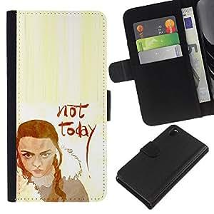 LECELL--Cuero de la tarjeta la carpeta del tirón Smartphone Slots Protección Holder For Sony Xperia Z3 D6603 -- No Hoy Lannister --