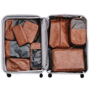 VASCO Travel Packing Cubes Set: Set of 3 Double Compression Cubes + Shoes Bag + Shoes Pouch + Hanging Toiletry Bag + Electronics Cube + Travel RFID Wallet  Top Travel Gear Kit (Brown/Eco Leather)