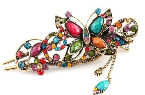 Hair Sticks Pins Jewelry (Oyang Lovely Vintage Jewelry Crystal Butterfly Hairpins Hair stick- for hair clip Beauty Tools)