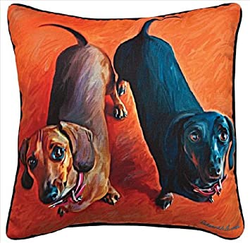 Manual Double Dachsies Dachshund Paws and Whiskers Decorative Square Pillow, 18-Inch