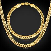 """Hip Hop Men 18K Gold Plated Bracelet & Necklace With """"18K"""" Stamp"""