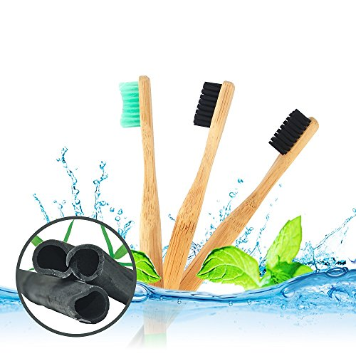 AUSHEN Charcoal Toothbrush Bamboo Toothbrush Kids and Adults