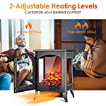 Fireplace Space Heater - 1500W / 750W Infrared Electric Fireplace Heater with 3D Flame Effect, Adjustable Flame Brightness, Overheat Protection, Large Size Room Electric Wood Stove for Indoor Use by Air Choice