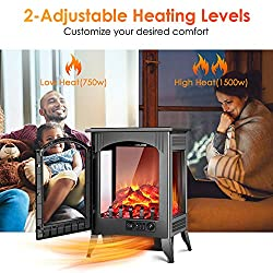Electric Fireplace Heater - 1500W / 750W Infrared Electric Fireplace Stove with 3D Flame Effect, Adjustable Flame Brightness, Overheat Protection, Large Size Room Electric Space Heater for Indoor Use from Air Choice