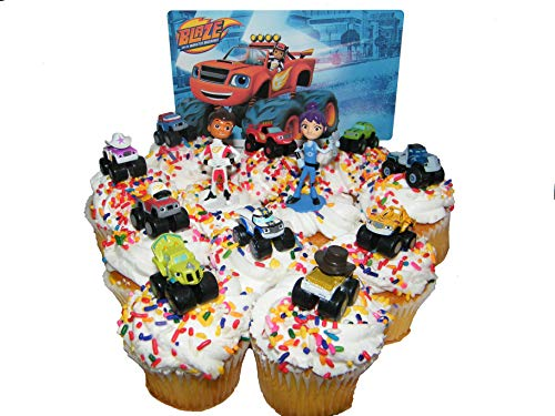 Monsters Trading Figures - Nickelodeon Blaze and the Monster Machines Deluxe Mini Cake Toppers Cupcake Decorations Set of 13 Figures with Blaze, JR, Gabby, 9 other Monster Machines and More!