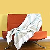 Minimalist Africa Design Soft Premium Ethiopian Cotton Throw Blanket Natural Handmade for Couch Sofa or Bed - Modern Quality High End Home Decor Gift 56'' x 78'' [Large] (Sand / Azure)