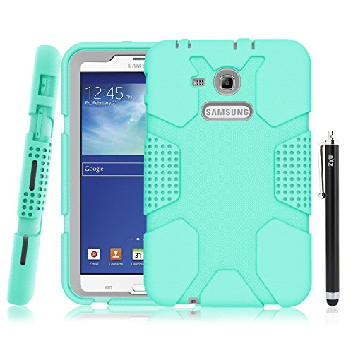 Samsung Galaxy Tab E Lite 7.0 Case, Galaxy Tab 3 Lite 7.0 Case, ZxU Soft Rugged [Armor Defender] Heavy Duty Kids Proof Protective Case with Stylus for SM-T110 / SM-T111 / SM-T113 / SM-T116, Teal