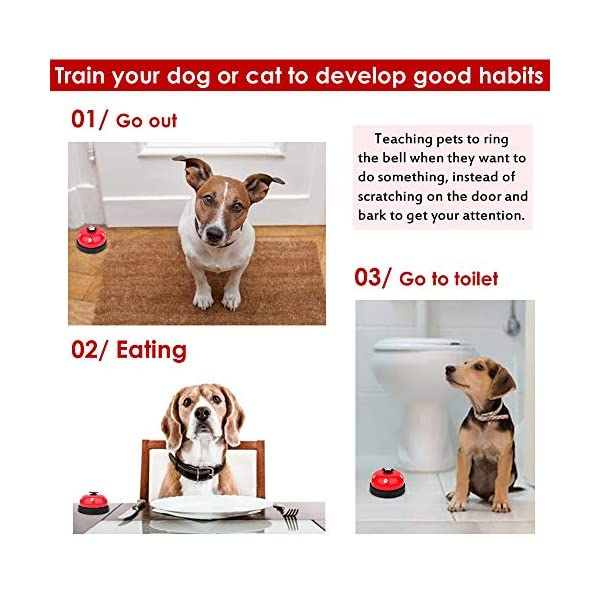 SlowTon Pet Doorbells, 2 Pack Metal Bell Dog Training with Non Skid Rubber Bottoms Puppy Door Bell for Potty Training and Communication Device with Clear Ring Paw Size Button for Small Doggie Cats 2