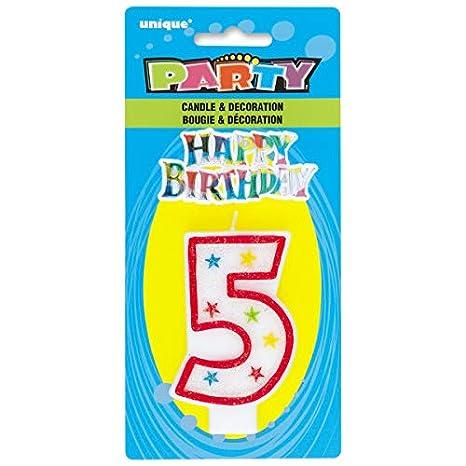 37320 Unique Party Happy Birthday Bougie /à Paillettes dAnniversaire Num/éro 0 et D/écoration pour G/âteau