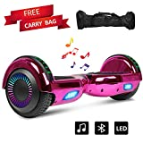 Sea Eagle Hoverboard Self Balancing Scooter Hover Board for Kids Adults with Bluetppth Speaker, UL2272 Certified and Portable Carrying Bag (Chrome Rose Red)