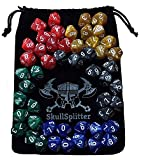 Skull Splitter Dice - D10 DICE SET-5 Sets of 10d10, Perfect for wod or Math Dice Games - 10 Sided Polyhedral Dice, Table Top rpg Games Hit Point / Level Counters, Opaque Marbled