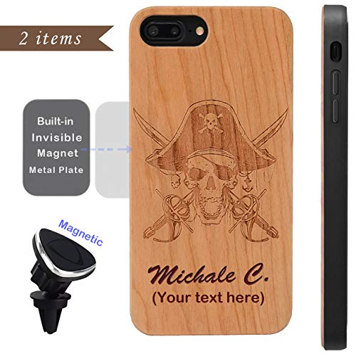Wood Phone case Compatible with iPhone 8 7 6 Plus (ONLY) and Magnetic Mount-iProductsUS Customized Cases Engraved Pirate and Name, Built-in Metal Plate, TPU Rubber Shockproof Cover (5.5