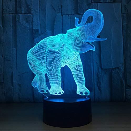 Novelty Lamp, Night Light 3D Child USB Charging Optical Illusion Elephant LED Lamp, Color Change 5 Color for Bedroom, Kids Room, Coffee Table, Christmas Decoration and Lover Gift,Ambient Light by LIX-XYD (Image #4)