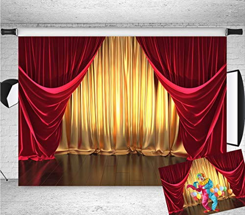 Qian 7x5FT Vinyl 3D Rendering Theater Stage Theme Photography Backdrops Golden and Red Curtains Photo Studio Props Vinyl Background for Wedding Birthday Party Decoration Banner (Photo Stage)