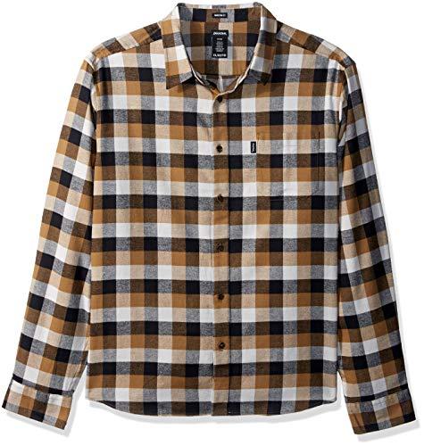 - Dickies Men's Long Sleeve Regular fit Flannel Shirt, Brown Duck/Gray Buffalo Plaid, L