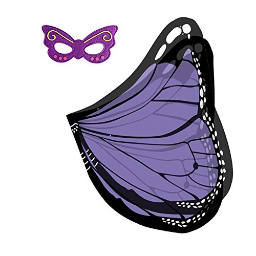 Butterfly Wings Fancy Dress (RioRand Butterfly Wings Shawl Dress-ups Set With Mask for Children (Purple))