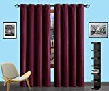 Infinite Home Beauty one panel of energy saving blackout curtains. Creates darker, quieter atmosphere. Perfect for bedrooms, living rooms or offices. (1 Panel 54″ x 84″, Burgundy Red)