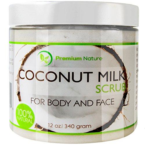 Coconut Milk Body Scrub 12 oz For Face & Body, 100% Natural By Premium Nature (Coconut Oil Sugar Scrub compare prices)