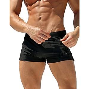 Malavita Mens Swim Trunks Pants Swimwear Shorts Slim Wear With Zipper Pocket (XL, 01black)