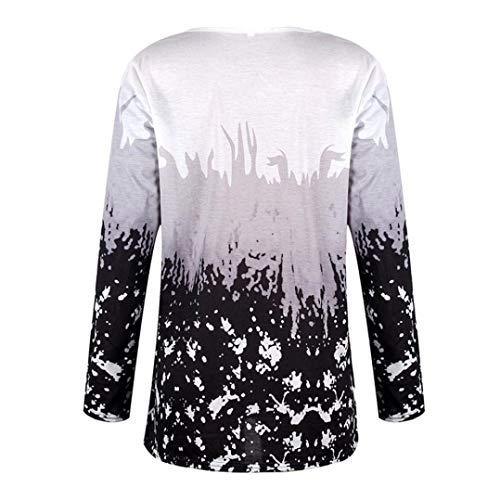Femmes Grau Mode Élégant Long Col Pullover V Large Base En De Sweat Automne T Casual À shirts Printemps Chemise Longues Tops Imprimé Haidean Manches xwgqIzPZ