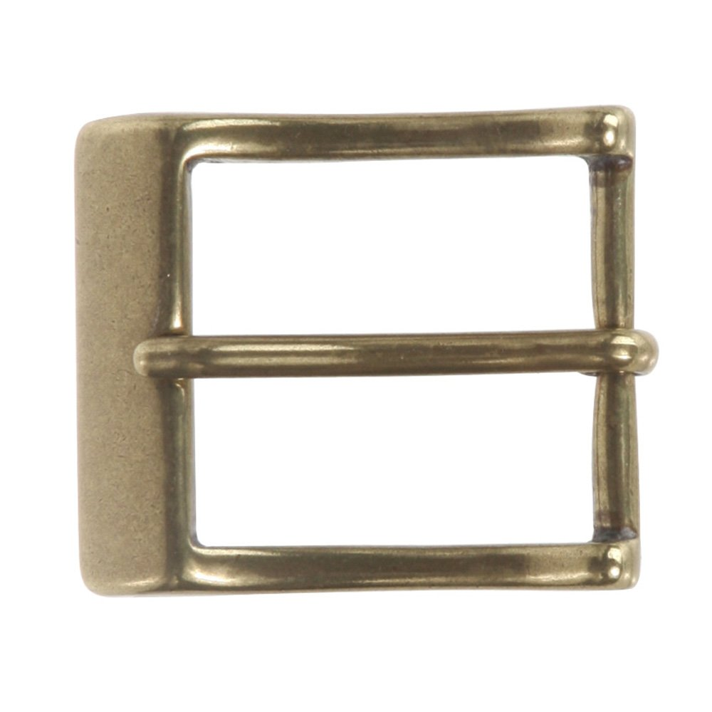1 1/4 (33 mm) Single Prong Solid Brass Rectangular Belt Buckle, Antique Brass Beltiscool 215334:A00E