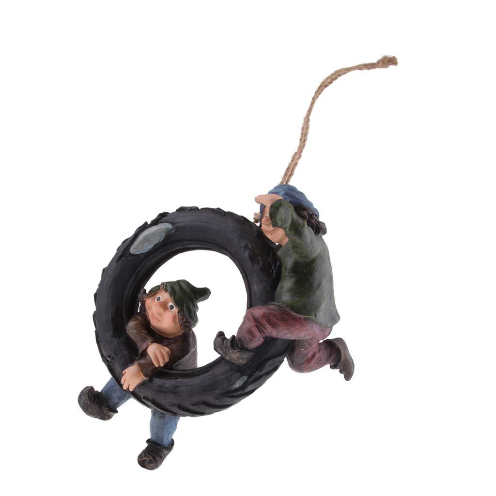 Amazon com: Fityle Statue Resin Swing Boys Decor Simulation