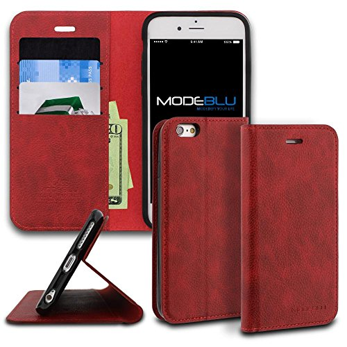 Iphone 6S Case  Modeblu  Magnetic Portfolio Case Series   Red  Wallet Case Id Credit Card Cash Slots Premium Synthetic Leather  Stand View  For Apple Iphone 6S   6  4 7 Inch