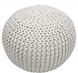 Single Piece Bright White Home Decor Disco Cables Pouf, Modern Style, Handmade, Soft Touch, Textured Pattern, Round Shape Pouf To Put Feet Up