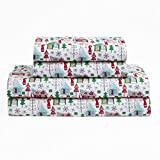 OV 3 Piece Red Green Blue White Color Chalet Village Sheets Twin Set, Multi House Pine Tree Snowflake, Holiday Christmas Winter Nights Novelty Charming Bedding Teen Bedroom, Polyester
