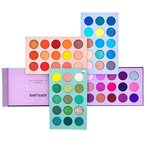🥇 Paleta de sombras de ojos de 60 colores Set de paleta de maquillaje 4 in1 Color Board Altamente pigmentado Brillo Metálico Mate Brillo Natural Ultra Sombra de ojos en polvo