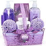 Bath and Body Gift Basket For Women and Men – Lavender and Jasmine Home Spa Set with Body Lotions, Bubble Bath and More
